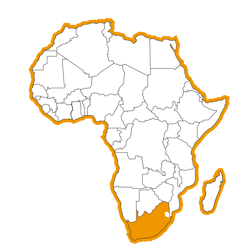 Bestemmingen Afrika Map-Zuid-Afrika
