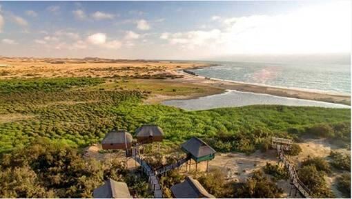 Uitzicht over groen en oceaan met de Stilz Lodges vooraan in Namibië