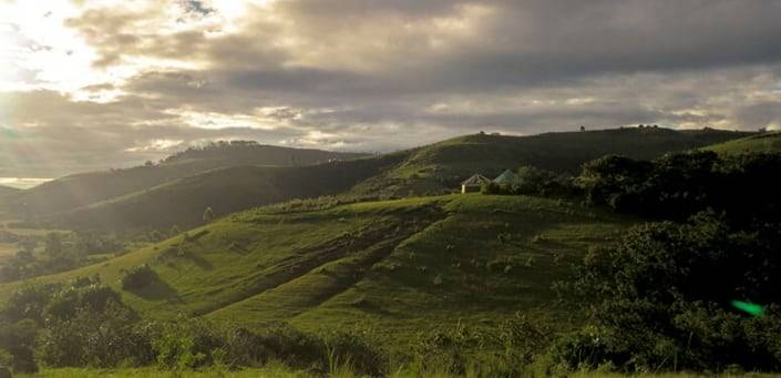 Malolotja groene heuvels uitzicht